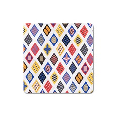 Plaid Triangle Sign Color Rainbow Square Magnet