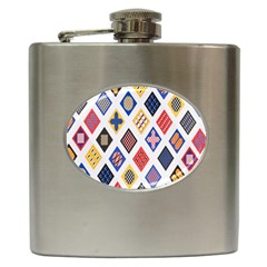 Plaid Triangle Sign Color Rainbow Hip Flask (6 oz)
