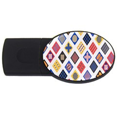 Plaid Triangle Sign Color Rainbow Usb Flash Drive Oval (2 Gb)