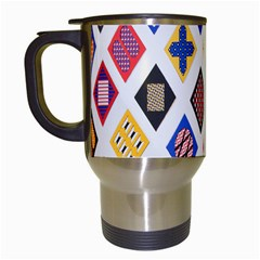 Plaid Triangle Sign Color Rainbow Travel Mugs (White)
