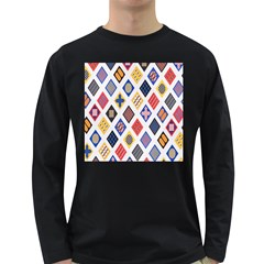 Plaid Triangle Sign Color Rainbow Long Sleeve Dark T Shirts