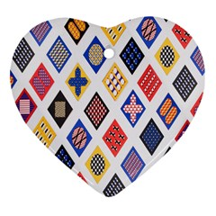 Plaid Triangle Sign Color Rainbow Heart Ornament (Two Sides)