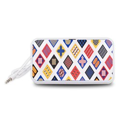Plaid Triangle Sign Color Rainbow Portable Speaker (White)