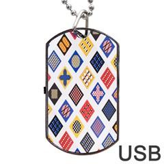 Plaid Triangle Sign Color Rainbow Dog Tag USB Flash (Two Sides)