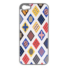 Plaid Triangle Sign Color Rainbow Apple iPhone 5 Case (Silver)