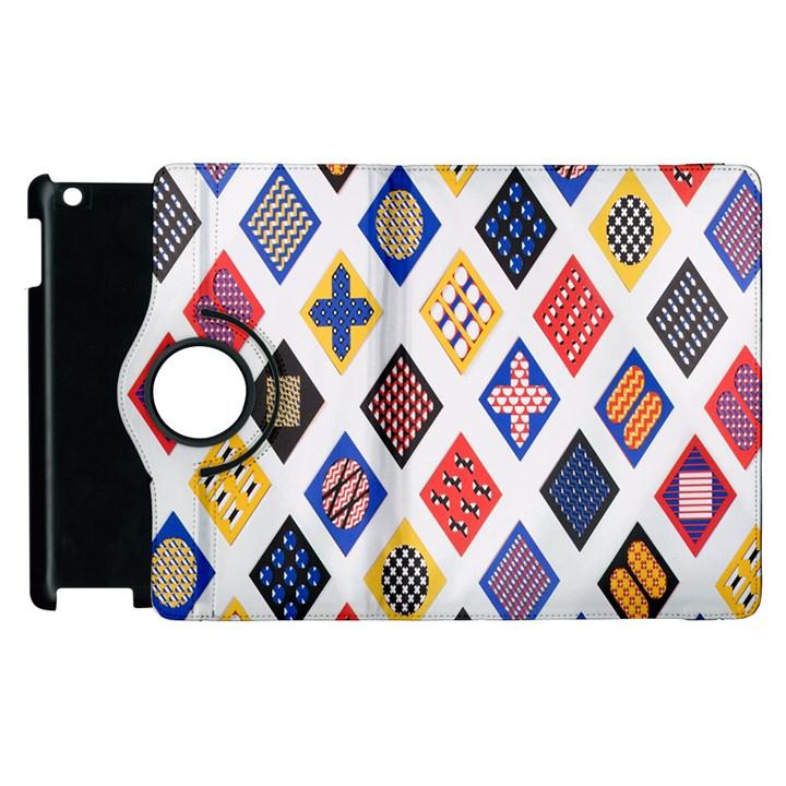Plaid Triangle Sign Color Rainbow Apple iPad 2 Flip 360 Case