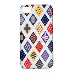 Plaid Triangle Sign Color Rainbow Apple iPhone 4/4S Hardshell Case with Stand