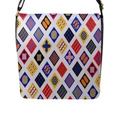 Plaid Triangle Sign Color Rainbow Flap Messenger Bag (L)