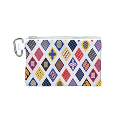 Plaid Triangle Sign Color Rainbow Canvas Cosmetic Bag (S)