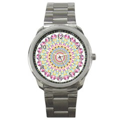 Kaleidoscope Star Love Flower Color Rainbow Sport Metal Watch