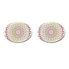 Kaleidoscope Star Love Flower Color Rainbow Cufflinks (oval)
