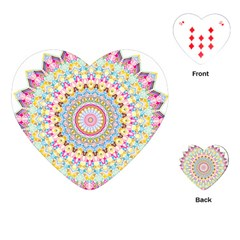 Kaleidoscope Star Love Flower Color Rainbow Playing Cards (heart)