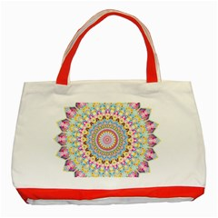Kaleidoscope Star Love Flower Color Rainbow Classic Tote Bag (Red)