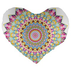 Kaleidoscope Star Love Flower Color Rainbow Large 19  Premium Flano Heart Shape Cushions