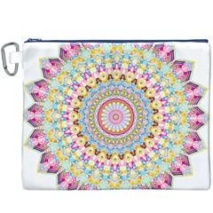 Kaleidoscope Star Love Flower Color Rainbow Canvas Cosmetic Bag (XXXL)