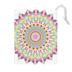 Kaleidoscope Star Love Flower Color Rainbow Drawstring Pouches (Extra Large)