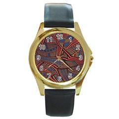 Random Inspiration Round Gold Metal Watch