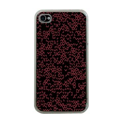 Random Pink Black Red Apple iPhone 4 Case (Clear)