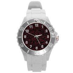 Random Pink Black Red Round Plastic Sport Watch (L)