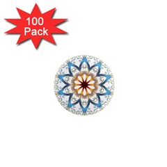 Prismatic Flower Floral Star Gold Green Purple Orange 1  Mini Magnets (100 Pack)