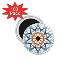 Prismatic Flower Floral Star Gold Green Purple Orange 1 75  Magnets (100 Pack)