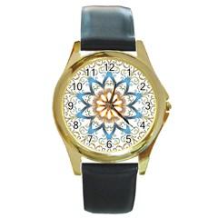 Prismatic Flower Floral Star Gold Green Purple Orange Round Gold Metal Watch