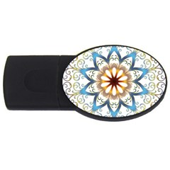 Prismatic Flower Floral Star Gold Green Purple Orange Usb Flash Drive Oval (2 Gb)