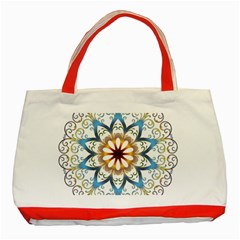 Prismatic Flower Floral Star Gold Green Purple Orange Classic Tote Bag (Red)