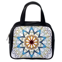 Prismatic Flower Floral Star Gold Green Purple Orange Classic Handbags (One Side)