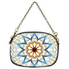 Prismatic Flower Floral Star Gold Green Purple Orange Chain Purses (Two Sides)