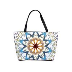 Prismatic Flower Floral Star Gold Green Purple Orange Shoulder Handbags