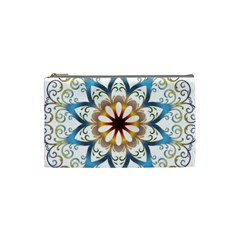 Prismatic Flower Floral Star Gold Green Purple Orange Cosmetic Bag (Small)