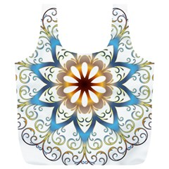 Prismatic Flower Floral Star Gold Green Purple Orange Full Print Recycle Bags (L)