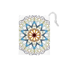 Prismatic Flower Floral Star Gold Green Purple Orange Drawstring Pouches (Small)