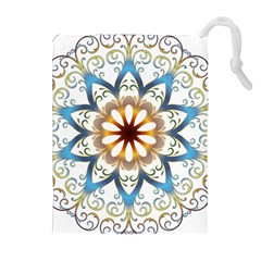 Prismatic Flower Floral Star Gold Green Purple Orange Drawstring Pouches (Extra Large)