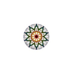 Prismatic Flower Floral Star Gold Green Purple 1  Mini Buttons
