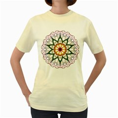 Prismatic Flower Floral Star Gold Green Purple Women s Yellow T Shirt