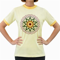 Prismatic Flower Floral Star Gold Green Purple Women s Fitted Ringer T-Shirts