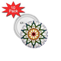 Prismatic Flower Floral Star Gold Green Purple 1.75  Buttons (10 pack)