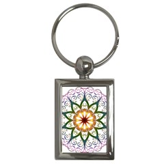 Prismatic Flower Floral Star Gold Green Purple Key Chains (rectangle)