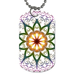 Prismatic Flower Floral Star Gold Green Purple Dog Tag (One Side)