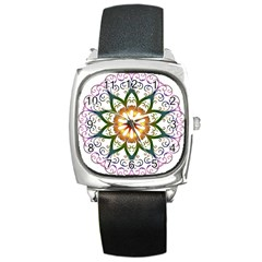 Prismatic Flower Floral Star Gold Green Purple Square Metal Watch