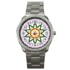 Prismatic Flower Floral Star Gold Green Purple Sport Metal Watch