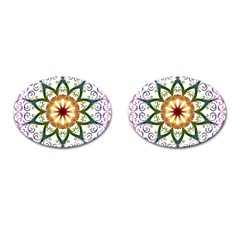 Prismatic Flower Floral Star Gold Green Purple Cufflinks (Oval)