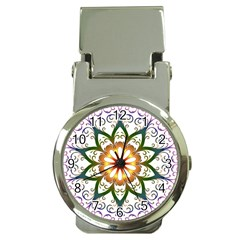 Prismatic Flower Floral Star Gold Green Purple Money Clip Watches