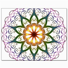 Prismatic Flower Floral Star Gold Green Purple Canvas 8  x 10