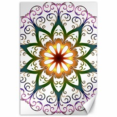 Prismatic Flower Floral Star Gold Green Purple Canvas 12  x 18