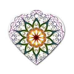 Prismatic Flower Floral Star Gold Green Purple Dog Tag Heart (One Side)