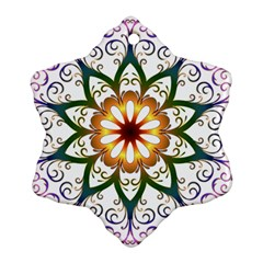 Prismatic Flower Floral Star Gold Green Purple Snowflake Ornament (Two Sides)