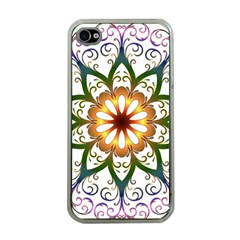Prismatic Flower Floral Star Gold Green Purple Apple iPhone 4 Case (Clear)